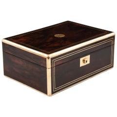Antique Mahogany Brass Bound Jewelry Box, 19th Century
