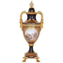 Empire Style Porcelain and Gilt Bronze Napoleon Vase