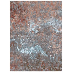 Volcanic Saga Contemporary Textured Hand-Knotted Wool and Silk 8x10 Rug