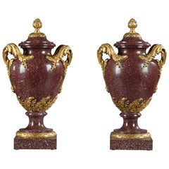 Rare Pair of Porphyry Vases Attributed to H. Dasson