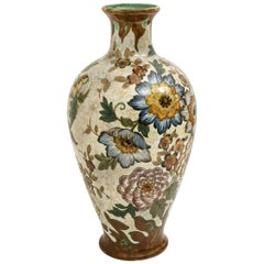 Large Gouda Royal Vase Signed, Hand-Painted, Holland, 1930