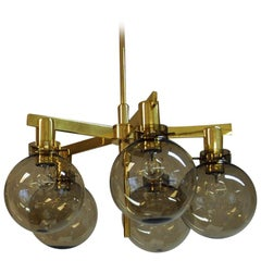 Pastoral Five Armed Ceilinglamp T348/5 Smoked Glassdomes 1959, HAJ Sweden