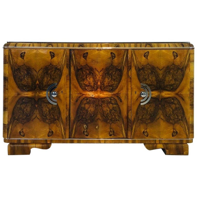 1920s Burl Art Deco Sideboard from France For Sale