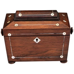 Antique Mahogany and Mother of Pearl Tea Caddy 19th Century