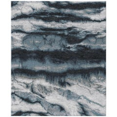 Eternity Lapse Contemporary Textured Hand-Knotted Wool and Silk 9x12 Rug