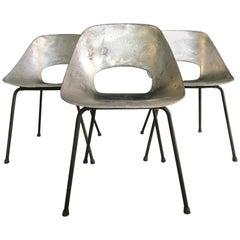 "Exceptional Rare Set of 3 ""Tonneau"" Aluminum Chairs by Pierre Guariche, 1950s"