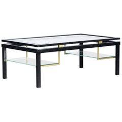 1980s Coffee Table, Metal, Glass and Brass
