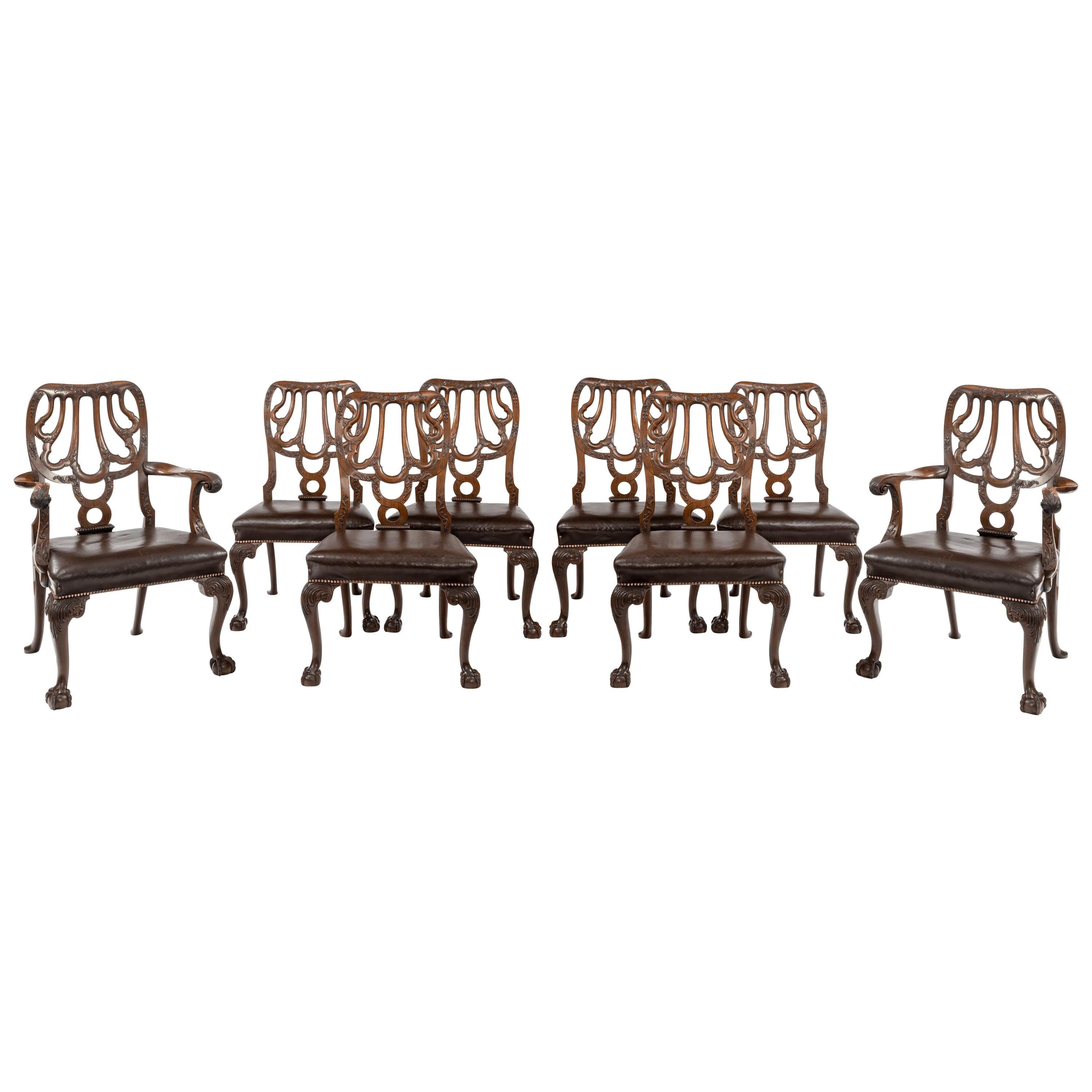 Set Of Eight Mahogany Dining Chairs By Marsh, Jones And Cribb For Sale