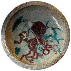 Early 20th Century Enamel Painted Japanese Satsuma Stoneware Charger