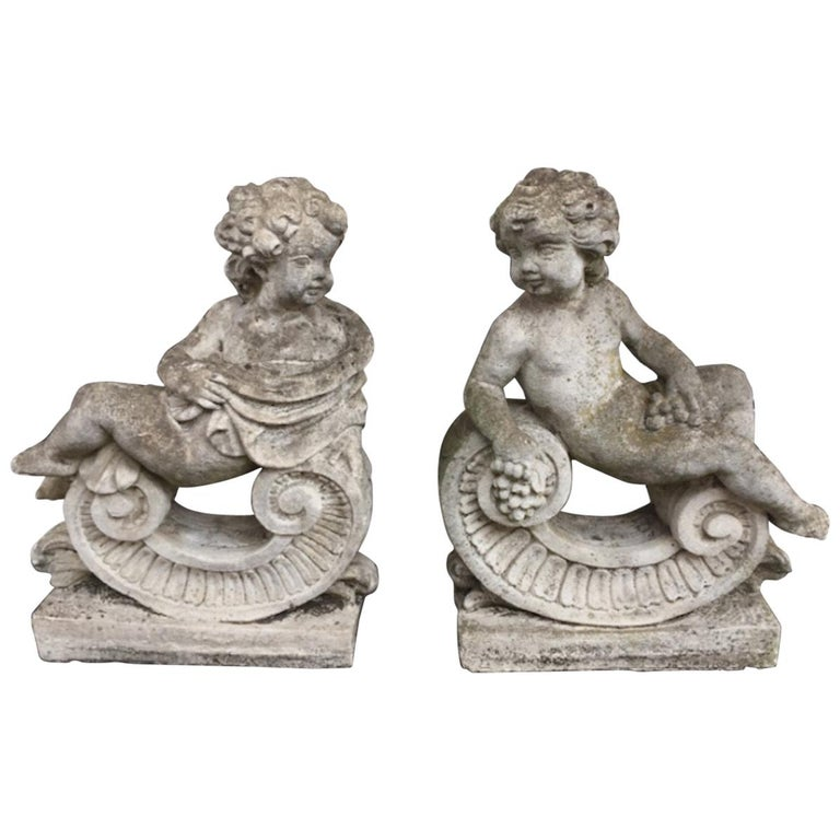 Large Pair of Mid-20th Century Cast Stone Cherubs