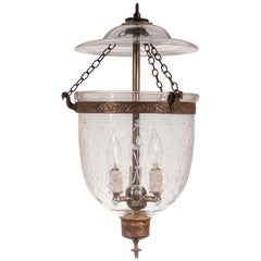 Petite 19th Century Bell Jar Lantern with Wheat Etching