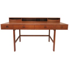Peter Lovig Nielsen Flip Top Danish Teak Desk, circa Early 1970s