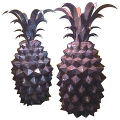 Pair of Giant Steel Pineapples