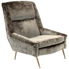 Midcentury Italian Gray Velvet Armchair, 1960s