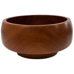 Scandinavian Modern Danish Sculptural Hand-Turned Teak Bowl on Foot, 1960s