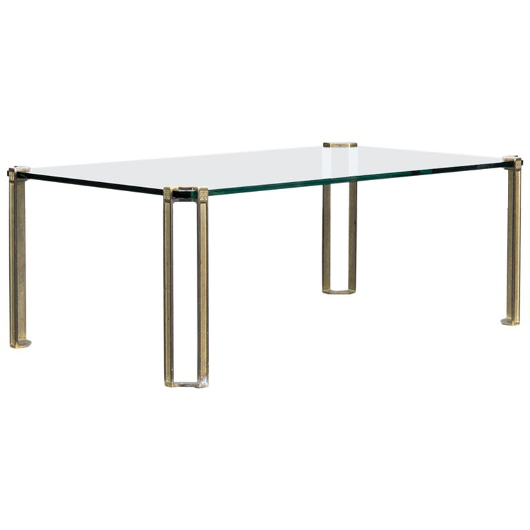 1970s Peter Ghyczy Coffee Table Glass and Brass