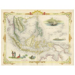 Antique Map of the Malay Archipelago 'East Indies' by Tallis '1851'