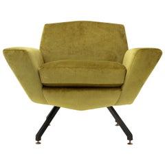 Midcentury Italian Acid Green Velvet Armchair, 1960s