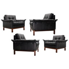 Scandinavian Set of Black Leather Lounge Chairs, Danish Modern 1950s