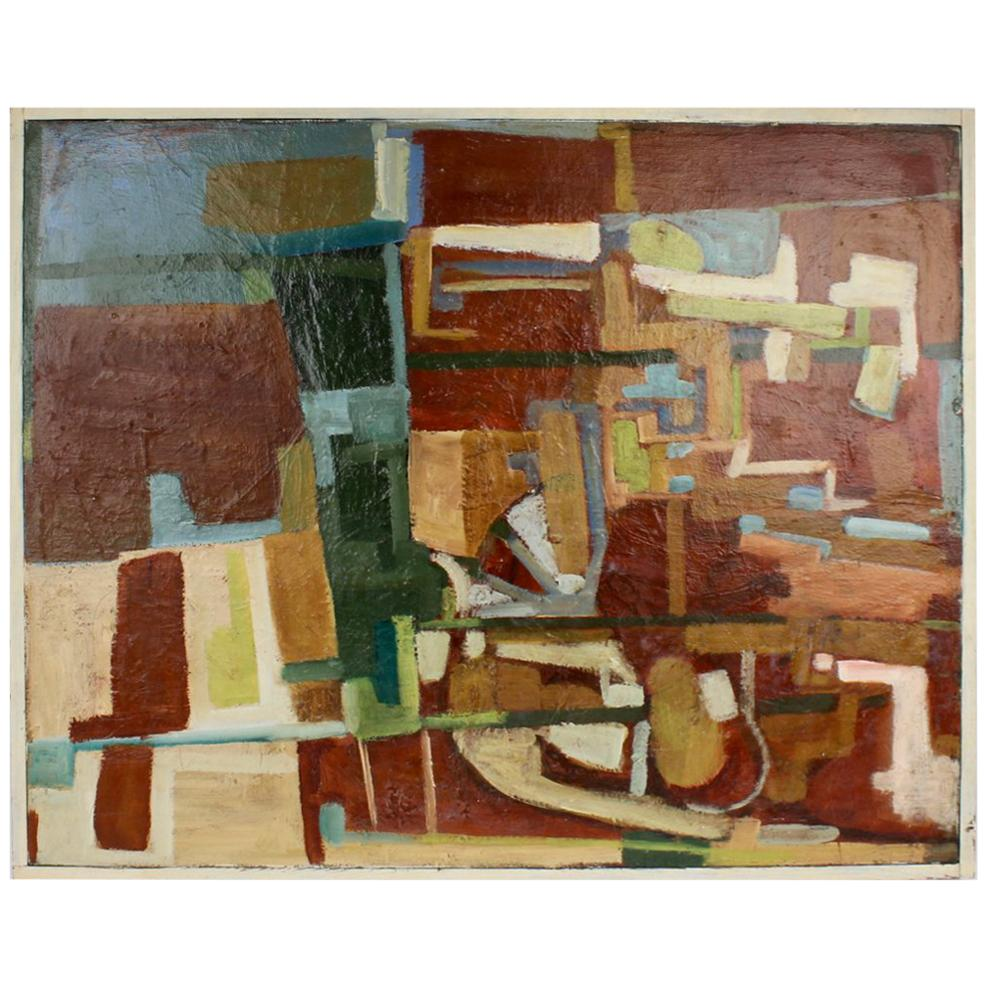 American Mid-Century Modern Abstract Oil on Canvas Painting