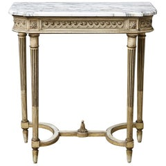 French Louis XVI Style Gilt Console with Carrara Marble Top, circa 1920s