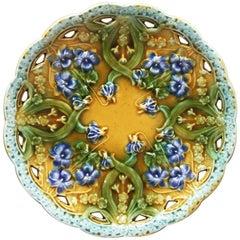 Majolica Violets Plate Villeroy et Boch, circa 1900