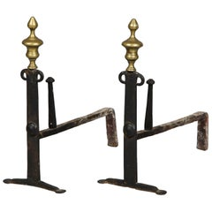 Pair of 18th Century Brass and Iron Andirons