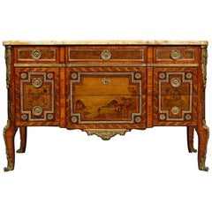 French Transitional Marble-Top Commode