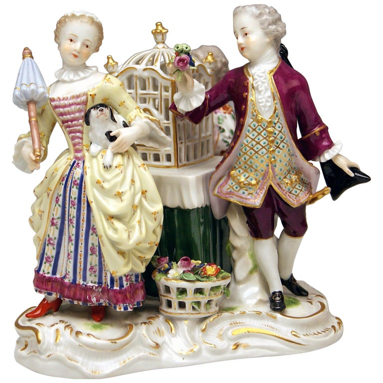 Meissen Children Clad in Rococo Garments with Birdcage Model 2897 Kaendler, 1870 For Sale