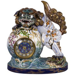 French Faience Chinoiserie Clock, Luneville, circa 1875