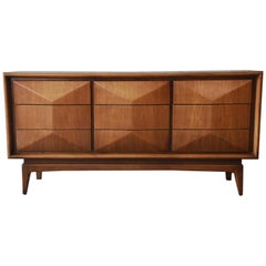 Walnut Diamond Front Dresser or Credenza by United