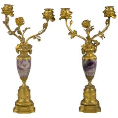 Pair of French Bronze Mounted and Blue John Two-Light Candelabra, circa 1875
