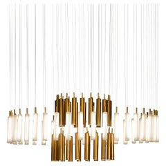 """Contemporary """"Art-Déco Rainy Day"""" Chandelier in Handmade Limoges Porcelain"""