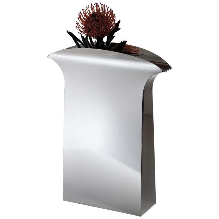 """Italian Handmade Modern Silver Plated Vase """"Papeete"""" by G. Malimpensa for Mesa"""