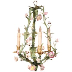 20th Century French Three-Light Chandelier with Porcelain Flowers and Leaves