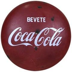 1960s Italian Vintage Metal Enamel Bevete Coca-Cola Drink Coca-Cola Button Sign