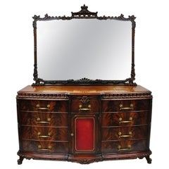 Chinese Chippendale Flame Mahogany Triple Dresser Chest & Mirror Detroit Furn