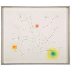 """Flux de L' Aimant"" Drypoint & Color Aquatint by Joan Miro"