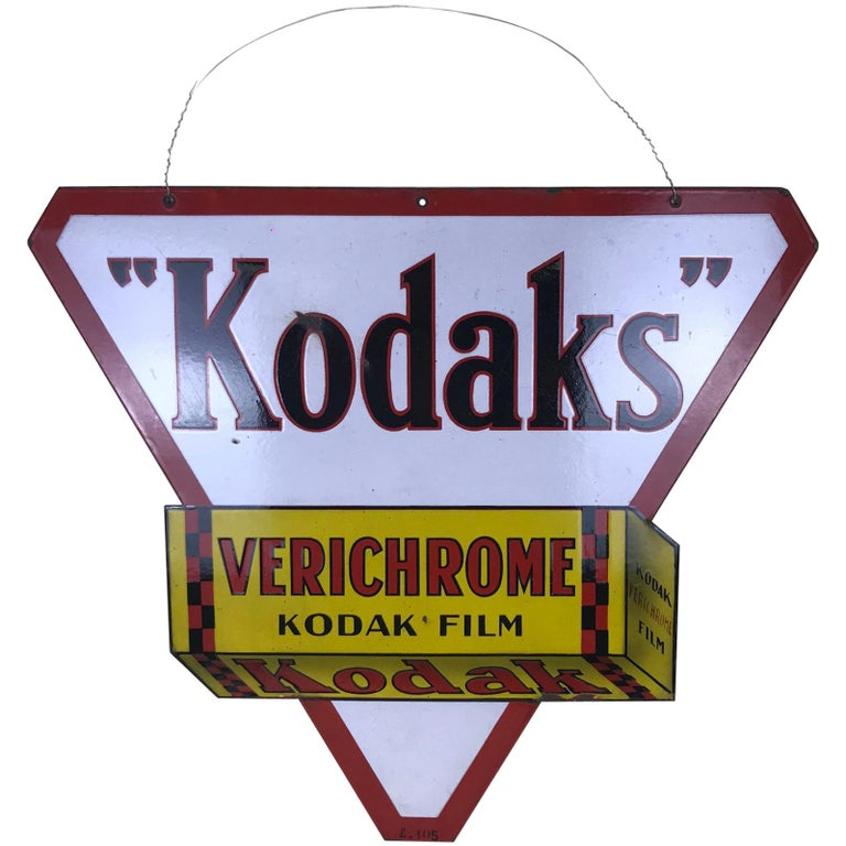 1940s Vintage Double-Sided Triangular French Metal Enamel Kodaks Sign For Sale