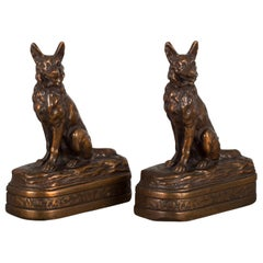 Bronze Cast German Shepherd Bookends by Armor Bronze, circa 1930