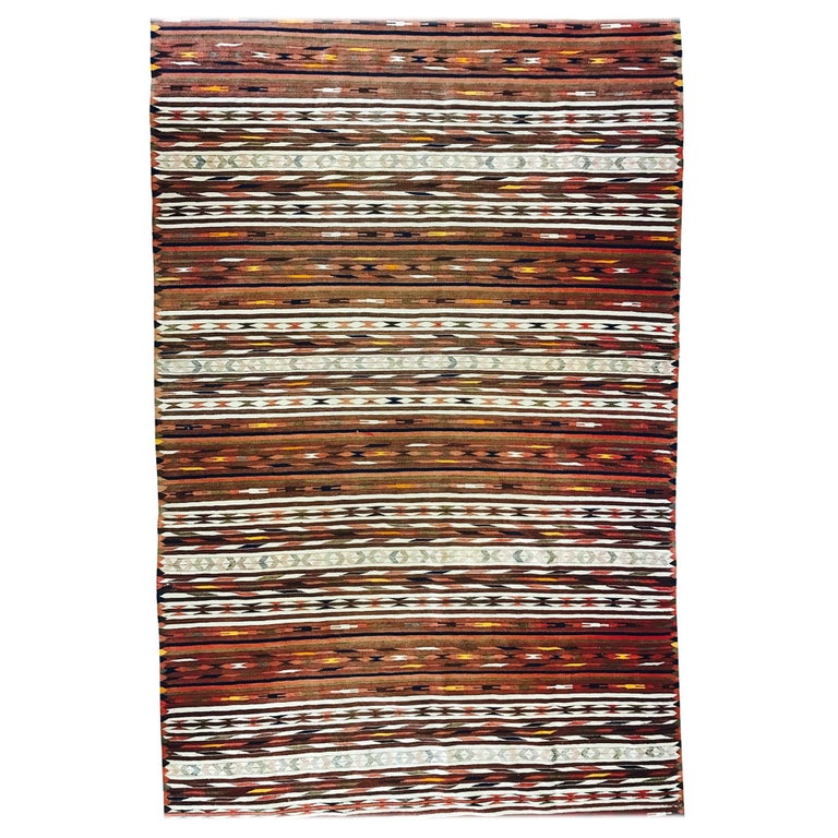 Vintage Turkish Flat Weave Rug: Vintage Turkish Flat-Woven Rug, In Small Size, W/ Baba