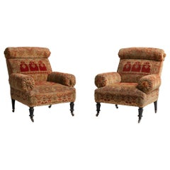 Pair of Kilim Upholstered Armchairs, France, circa 1890