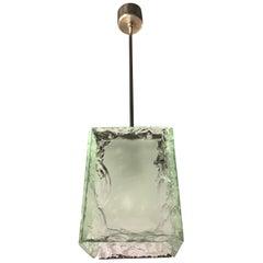 Fontana Arte Chandelier One-Light Chiseled Chrome Plated Brass, 1960