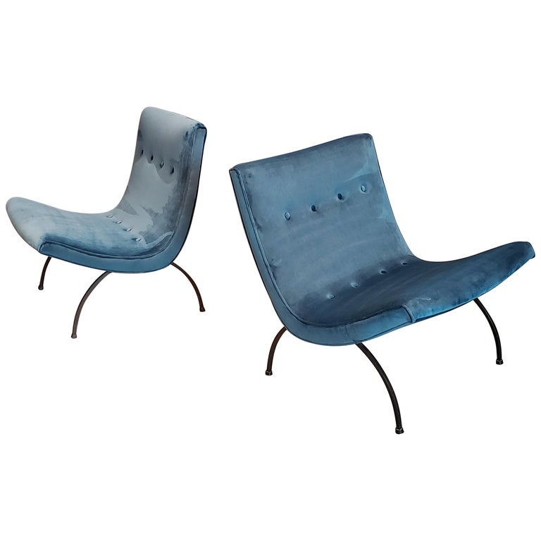 """Milo Baughman """"Scoop"""" Midcentury Lounge Chairs in Teal Velvet and Wrought Iron"""