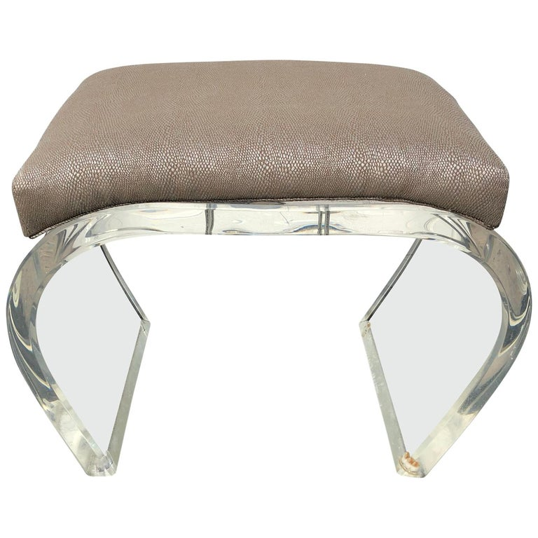 Thick Lucite Mid-Modern Waterfall Bench or Stool