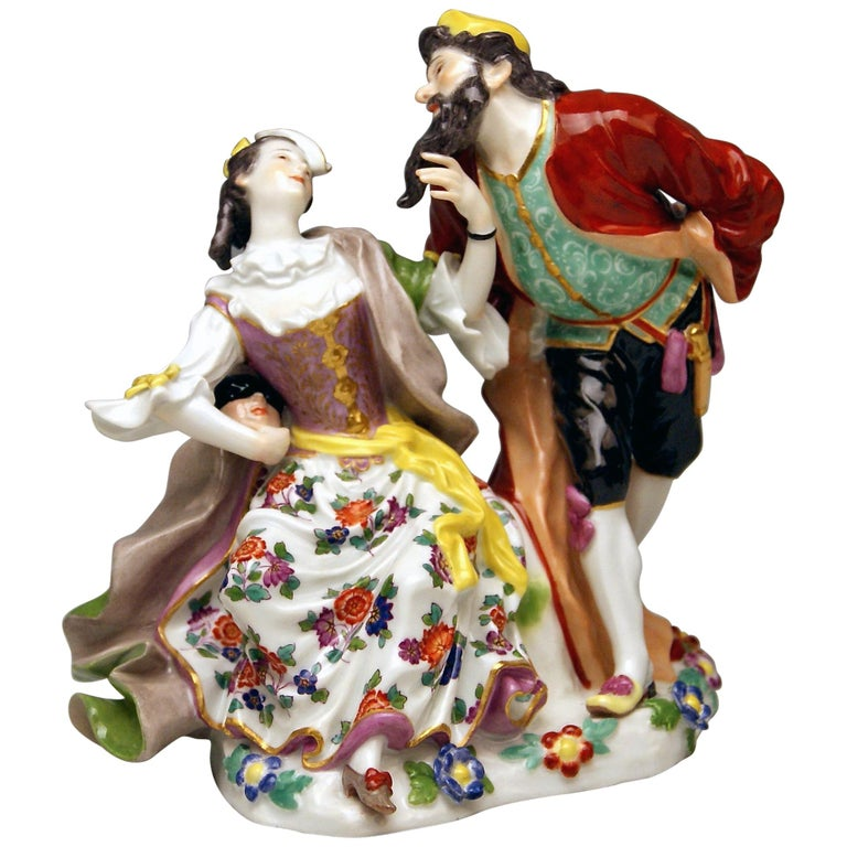 Meissen Pantalone and Columbine Commedia dell'Arte Model 279 Kaendler Made 1910