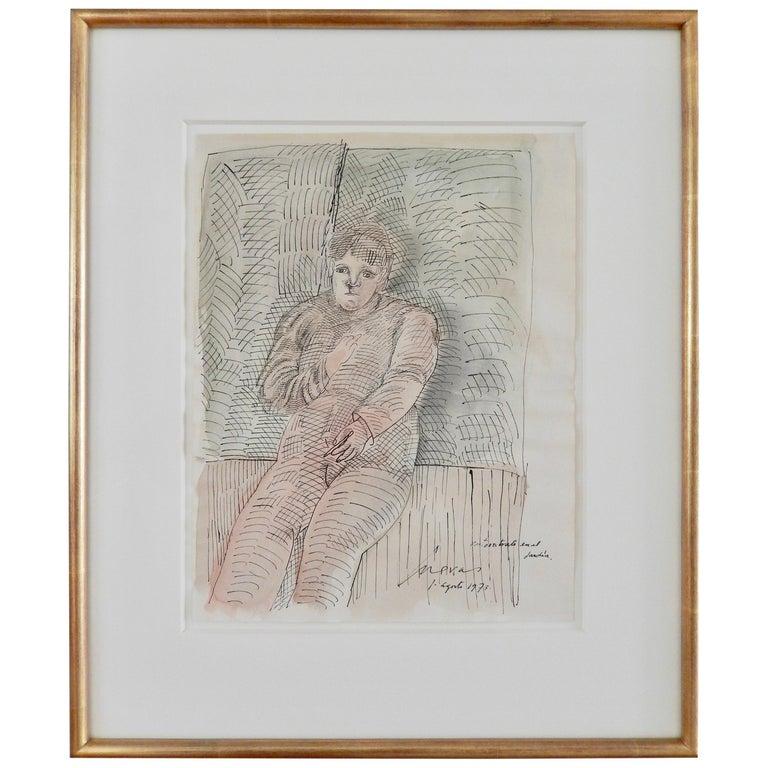 """Jose Luis Cuevas, """"Autorretrato en el Jardin,"""" Ink Drawing/Watercolor, 1973 For Sale"""