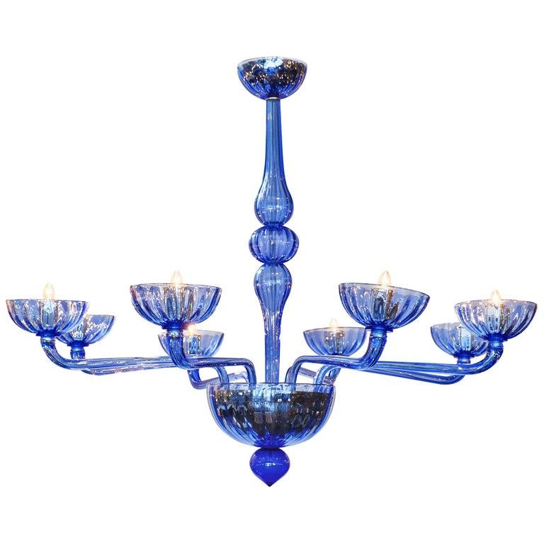 Murano Glass Blue Chandelier