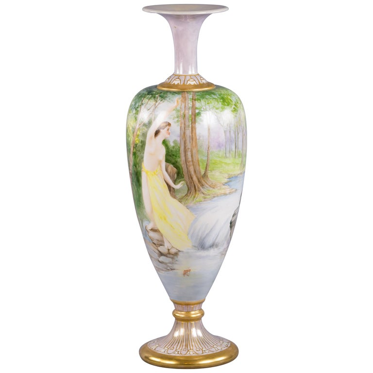 Art Nouveau Belleek Willets Hand Painted Porcelain Vase 1908 For
