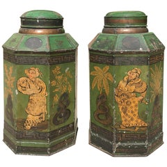 Pair of English Tole Tea Tins, Old Chipped Paint, circa 1830s